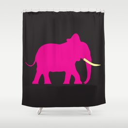 Pink Elephant On Black Shower Curtain