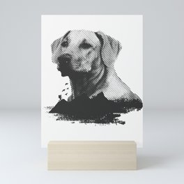 Golden Retriever Dog Portrait With Man Hiking In The Woods Animal Art Mini Art Print