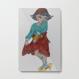 Zentangle girl Metal Print