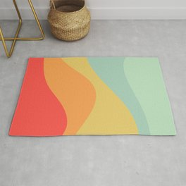 Abstract Color Waves - Bright Rainbow Rug