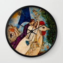 The Betrothed and Eiffel Tower by Marc Chagall Wall Clock