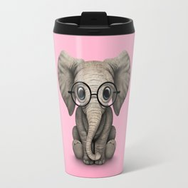 Cute Baby Elephant Calf with Reading Glasses on Pink Travel Mug