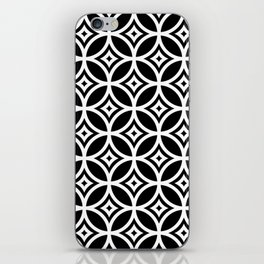CIRCLE DIAMOND, BLACK AND WHITE iPhone Skin