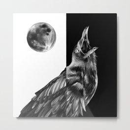 Crow and Full Moon Metal Print