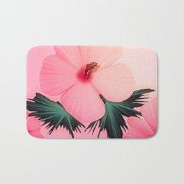 Tropical Pink Hibiscus Floral Print Bath Mat
