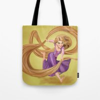 rapunzel Tote Bags featuring Rapunzel by Psychotic Basterd