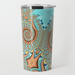Owl Fractal Turquoise and Orange Travel Mug