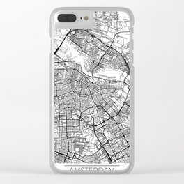 Amsterdam Map White Clear iPhone Case