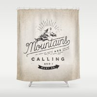 mountains Shower Curtains featuring Mountains by Seaside Spirit