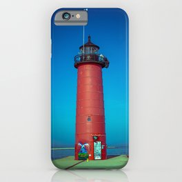 Kenosha North Pier Light Red Lake Michigan Lighthouse Wisconsin iPhone Case