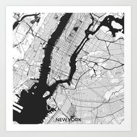 new york map Art Prints featuring New York Map Gray by City Art Posters