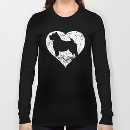 Distressed Norwich Terrier Heart Dog Owner Graphic Long Sleeve T-shirt