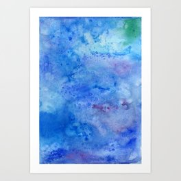 Mariana Trench Watercolor Texture Art Print