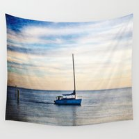 sailboat Wall Tapestries featuring Lone Sailboat by JMcCool