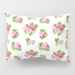 Blush pink red green watercolor floral camellia pattern Pillow Sham