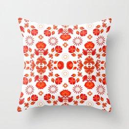 Fiesta Folk Red #society6 #folk Throw Pillow