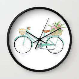 Vintage mint green bicycle Wall Clock