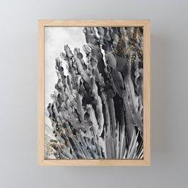 Cactus white & black Framed Mini Art Print