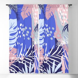 Abstract Tropical Summer Garden, Pink and Blue Blackout Curtain