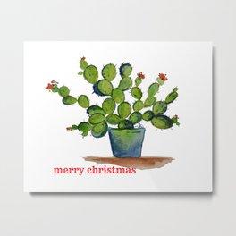 Chistmas Cactus Metal Print