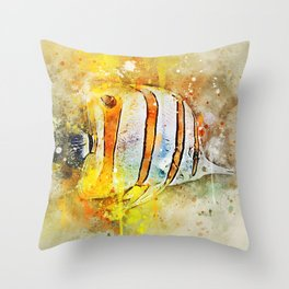 Yellow butterfly fish painted in bursting watercolor! Throw Pillow