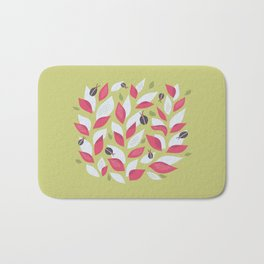 Pretty Plant With White Pink Leaves And Ladybugs Bath Mat