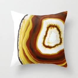 Yellow Gold Agate Geode slice Throw Pillow