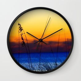 Sunset Sea Oats Wall Clock