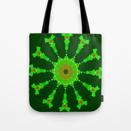 Lovely Healing Mandalas in Brilliant Colors: Hunter Green, Bright Green, Red, and Yellow Tote Bag