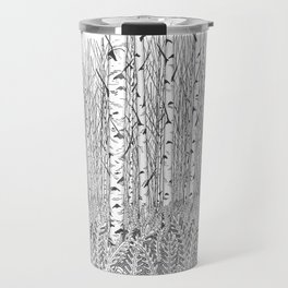 Birch Trees Black and White Illustration Travel Mug