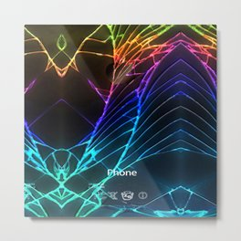 Rainbow Broken Damaged Cracked out Black handphone iPhone Metal Print