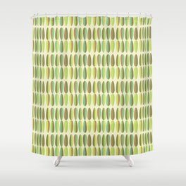 Mid Century Modern Green Seamless Patte Shower Curtain