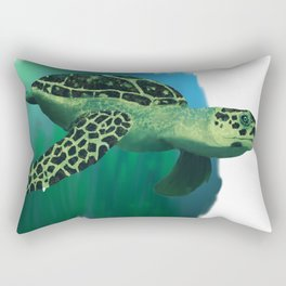 Green Sea Turtle Painting Rectangular Pillow
