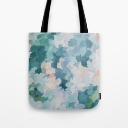 Mint Green Sky Blue Teal Blush Pink Abstract Nature Flower Wall Art, Spring Blossom Painting Tote Bag