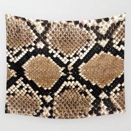 Pastel brown black white snakeskin animal pattern Wall Tapestry