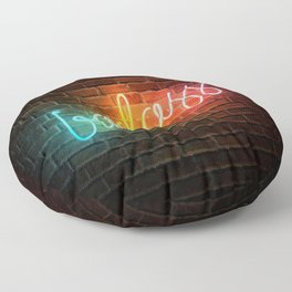 Badass Rainbow Neon Sign Floor Pillow