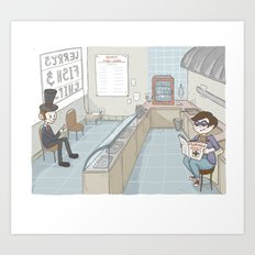 Hanging at the fish and chip shop Art Print