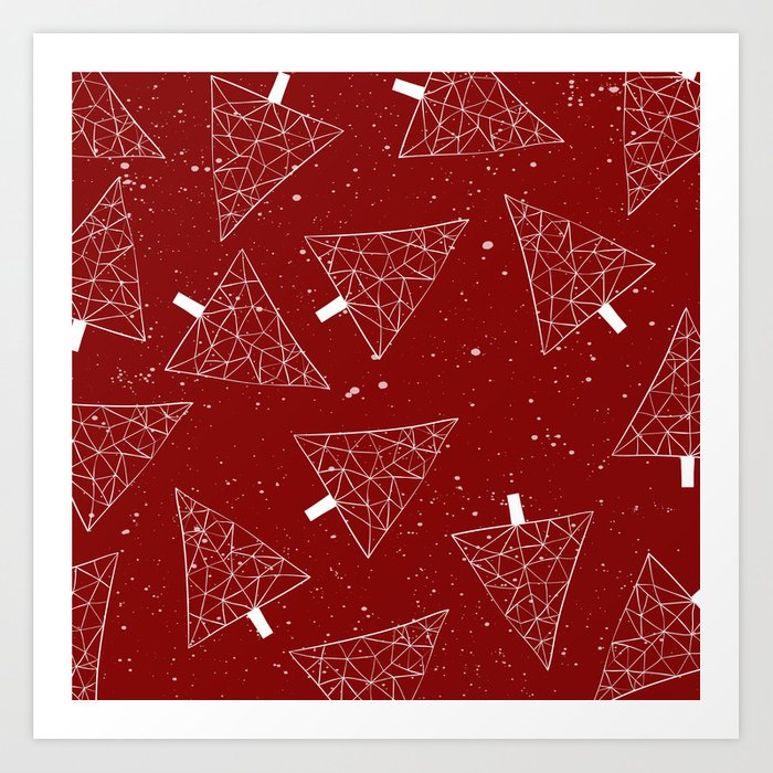 Christmas Trees Red Art Print