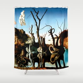 Salvador Dali Swans Reflecting Elephants 1937 Artwork for Wall Art, Prints, Posters, Tshirts, Men, Women, Kids Shower Curtain