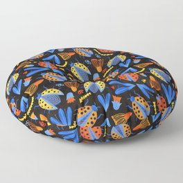 Moody Ladybug Botanical  Floor Pillow