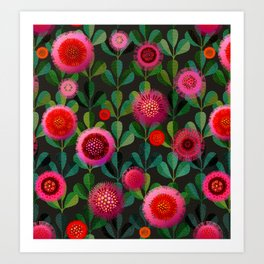Bright Blooms Hand-Print Floral - Dark Art Print