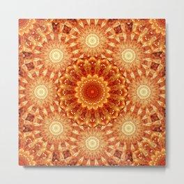 Heart of Fire Mandala Metal Print
