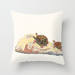 The Tortoise on a Rock Throw Pillow