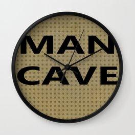 Man cave on tan Wall Clock