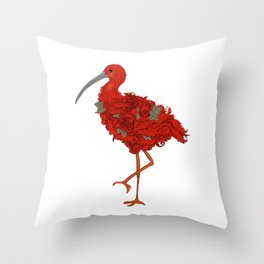 Scarlet ibis with red roses Throw Pillow