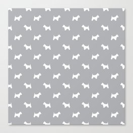 West Highland Terrier dog pattern minimal dog lover gifts grey and white Canvas Print