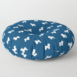 Bichon Frise dog pattern navy and white minimal pet patterns dog breeds silhouette Floor Pillow