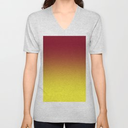 Burgundy Red to Electric Yellow Linear Gradient Unisex V-Neck