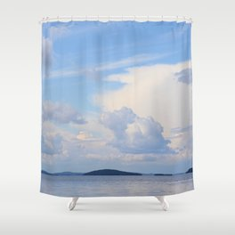 Blue Lakescape With White Clouds In The Blue Sky #decor #society6 Shower Curtain