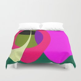 Abstract Composition in Green and Fuchsia Duvet Cover